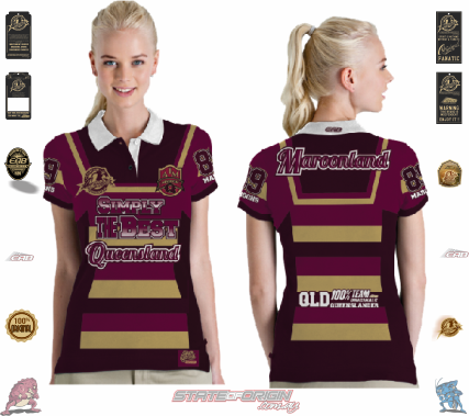 "State of Origin 2018 Team ""Classic old school by EAB, QLD Ladies QTR sleeve Simply the Best Jersey"""